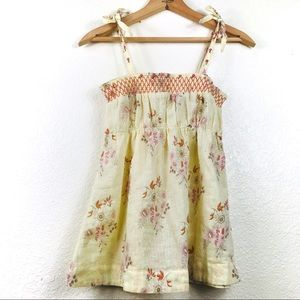 Free People Baby Doll Floral Linen Tie Tank Top